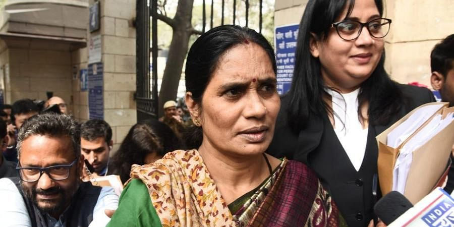 Nirbhaya's mother Asha Devi addresses the media outside the Patiala House court in New Delhi on Monday.