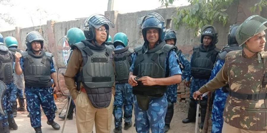 RAF officer Ashok Kumar (in blue uniform) at Shiv Vihar.