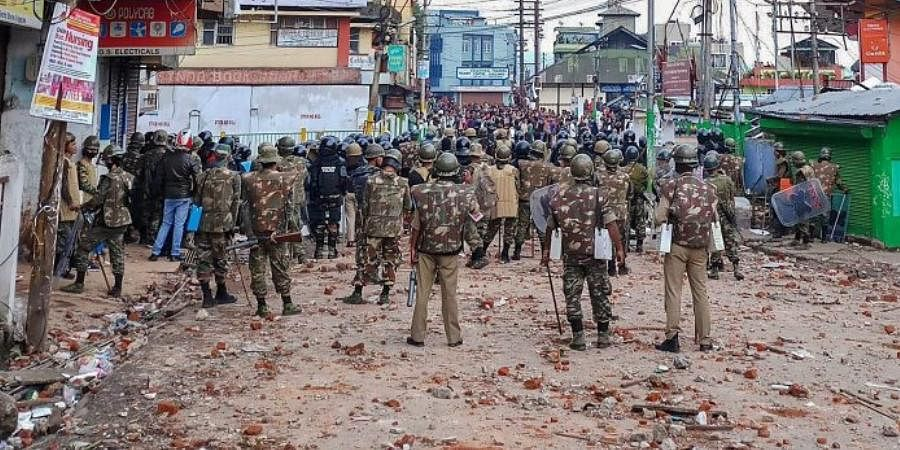 Soldiers guard a street during curfew in Shillong.