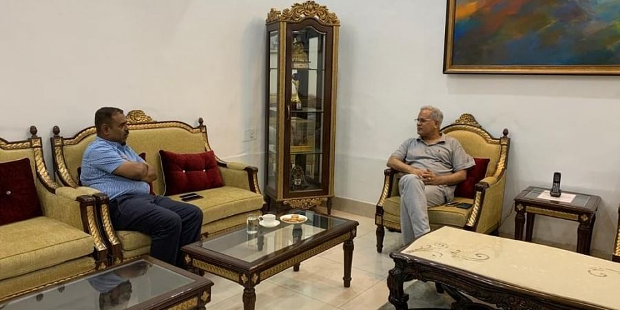 DGP DM Awasthi briefing the CM Bhupesh Baghel on the encounter.