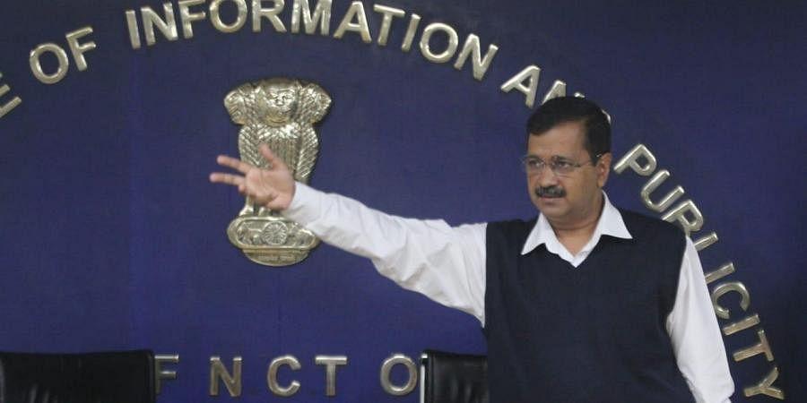 Delhi CM Arvind Kejriwal addresses a press conference in New Delhi
