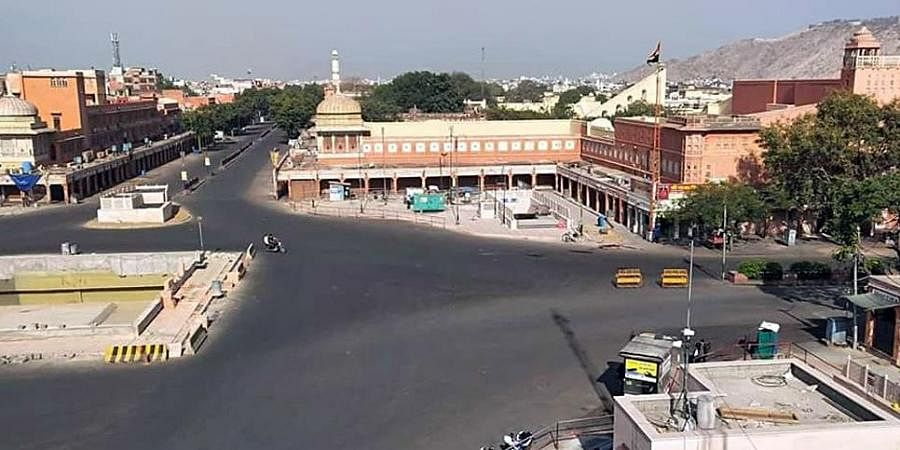 A deserted view of a road as people observe the Janata Curfew amid the rising cases of COVID-19 in Jaipur on Sunday