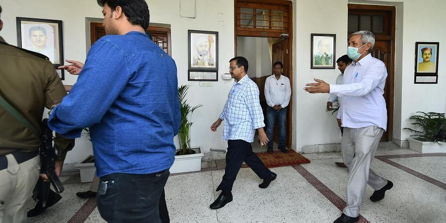 Delhi Chief Minister Arvind Kejriwal arrives to attend the budget session of Delhi Assembly in New Delhi. (Photo | PTI)