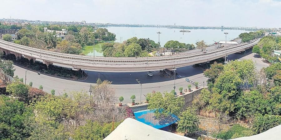 The Telugu Talli flyover in Hyderabad, which is otherwise crowded, wears a deserted look on Sunday