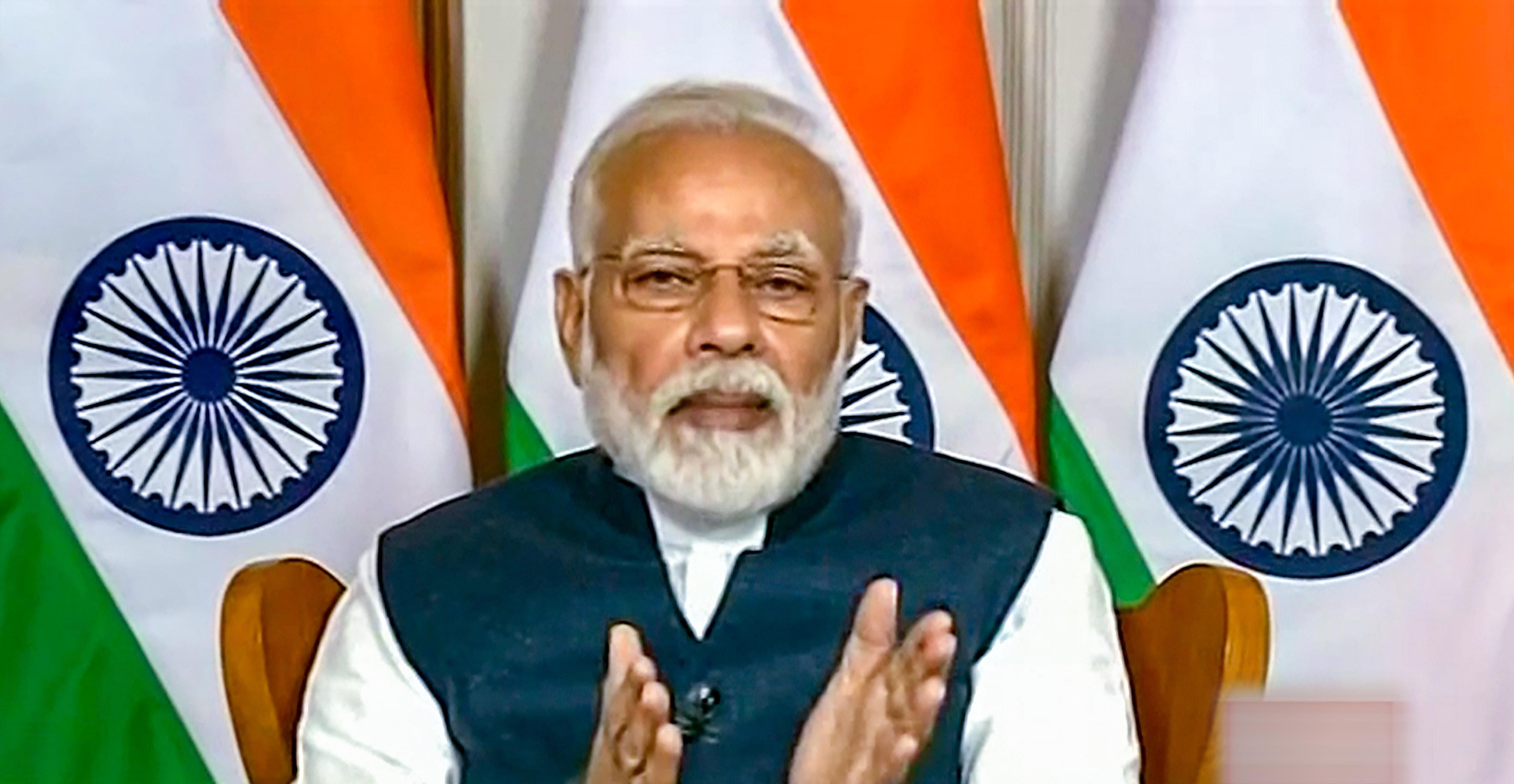 Prime Minister Narendra Modi interacts with media heads through video conferencing on COVID-19 in New Delhi. (Photo | PTI)