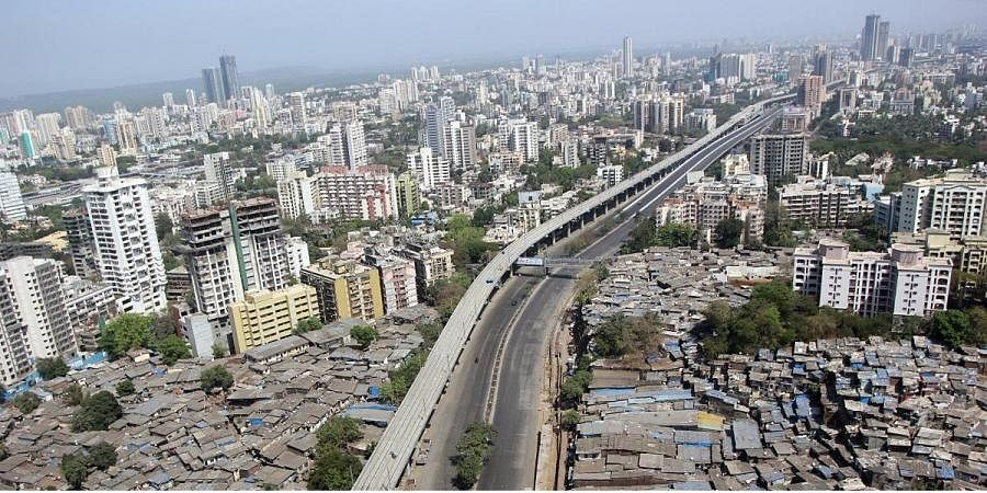 Deserted view of a road near Jogeshwari as people observe the 'Janta Curfew' in Mumbai