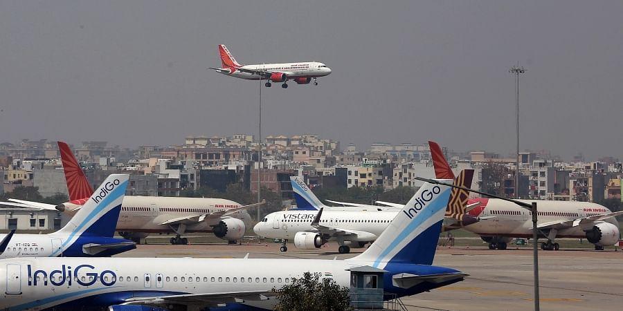 An Air India flight landing at Indira Gandhi International airport in Delhi