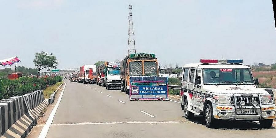 Barricades at the Adilabad-Maharashtra border near Penganga River on Monday.