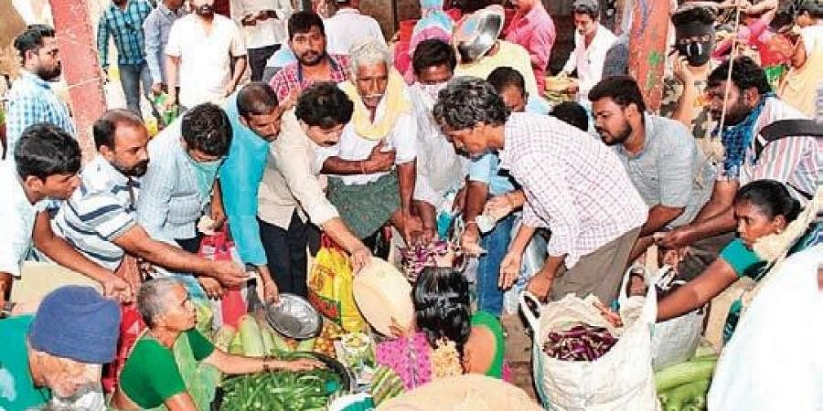 A rush of consumers at Rythu Bazar in Eluru on Monday