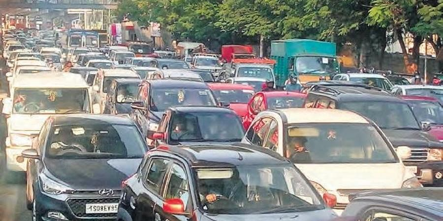 Heavy traffic at Begumpet in Hyderabad on Monday
