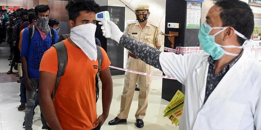 Thermal screening of passengers being conducted amid coronavirus outbreak, at Guwahati Railway Station