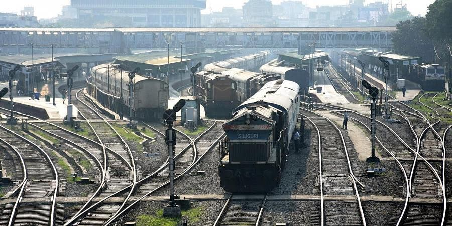 Trains are seen parked at Guwahati Railway Station yard after lockdown in the wake of coronavirus pandemic, in Guwahati