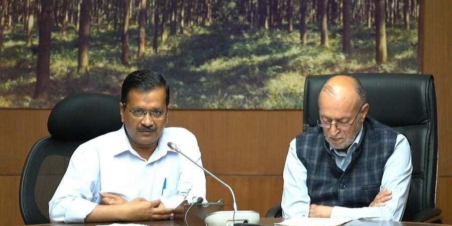 Delhi Lt. Governor Anil Baijal and Chief Minister Arvind Kejriwal addresses a digital press conference over lockdown amid coronavirus pandemic. (Photo | PTI)