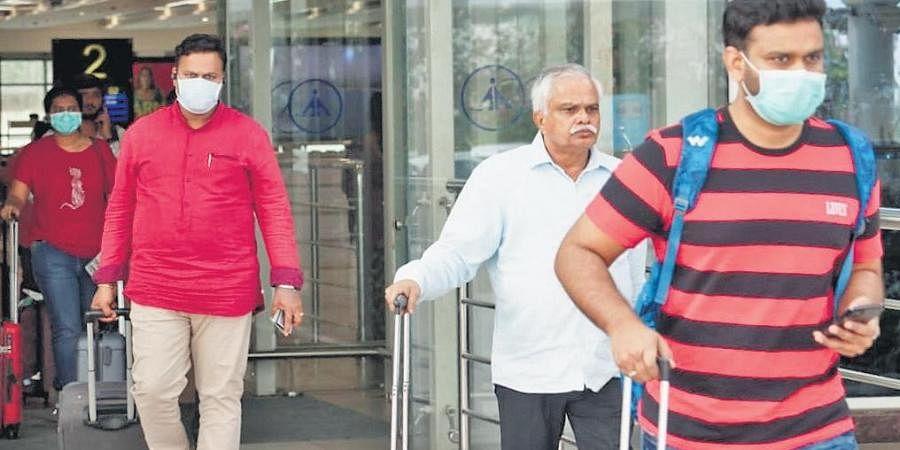 Passengers with masks at Vijayawada airport