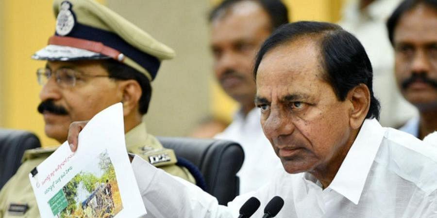 Chief Minister K Chandrasekhara Rao speaking to media at Pragathi bhavan in Hyderabad on Tuesday