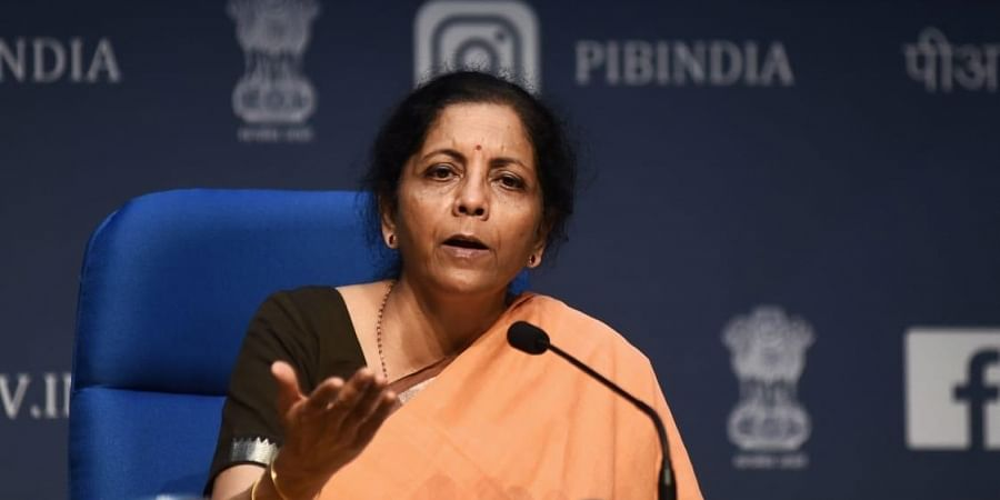 Finance Minister Nirmala Sitharaman addresses a press conference in New Delhi