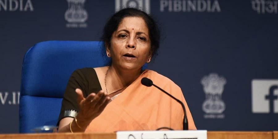 Finance Minister Nirmala Sitharaman addresses a press conference in New Delhi