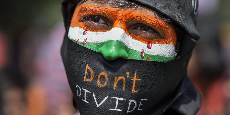 A protestor participates in a demonstration 'Delhi Chalo' against Citizenship (Amendment) Act (CAA) , National Register of Citizens (NRC) and National Population Register (NPR) at Jantar Mantar in New Delhi, Tuesday, March 3, 2020.