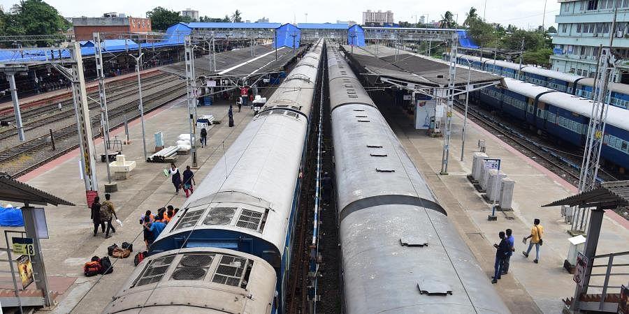 Aerial view of trains waiting in Thiruvananthapuram Railway Station, Kerala.