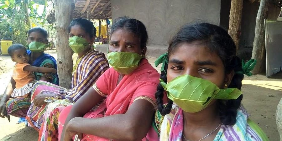 Tribals residing in the agency areas of the district have made face masks out of teak leaves