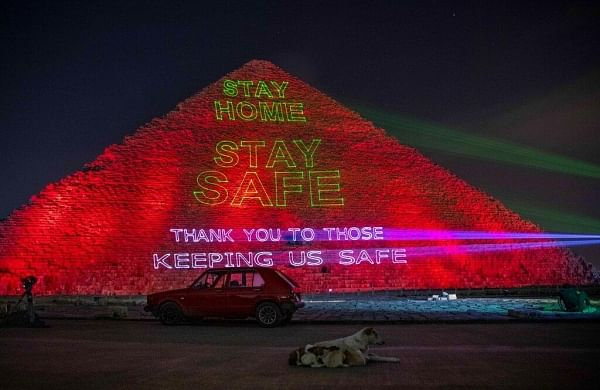 Great Pyramid in Egypt lights up in solidarity against virus, thanks health workers