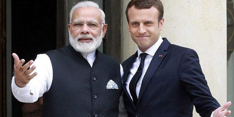 PM Modi with France president Emmanuel Macron