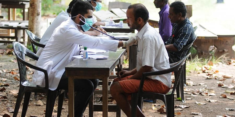 Kerala Doctors conducting checkups at Govt Girls Higher Secondary School as part of sanitation drive against coronavirus in Kochi.