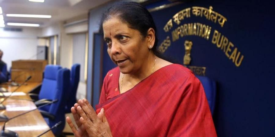 Finance Minister Nirmala Sitharaman addresses media on cabinet decisions at Shastri Bhawan in New Delhi