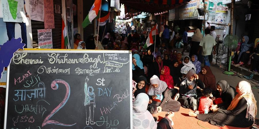 Shaheen Bagh like protests against the CAA continued for the 21st day at Old Washermenpet in North Chennai in chennai on Friday.