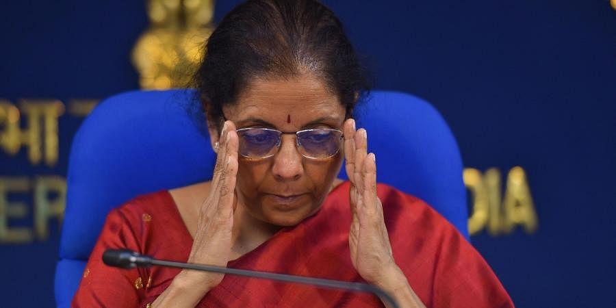 Finance Minister Nirmala Sitharaman addresses media on cabinet decisions at Shastri Bhawan in New Delhi