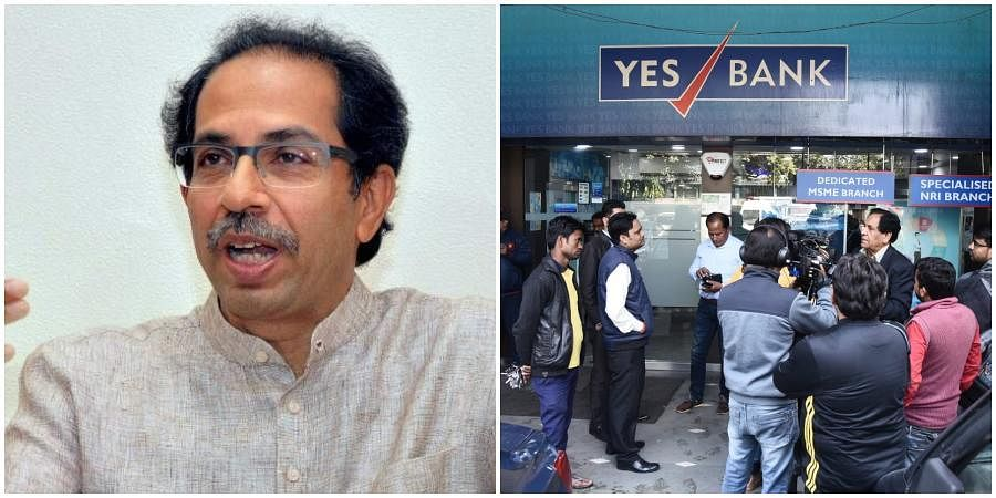 Maharashtra CM Uddhav Thackeray (L) and Yes Bank branch