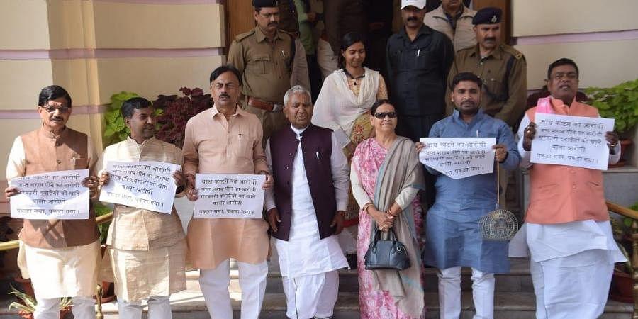 Opposition MLCs protest against Bihar government. (Photo| EPS/Ranjit K Dey)