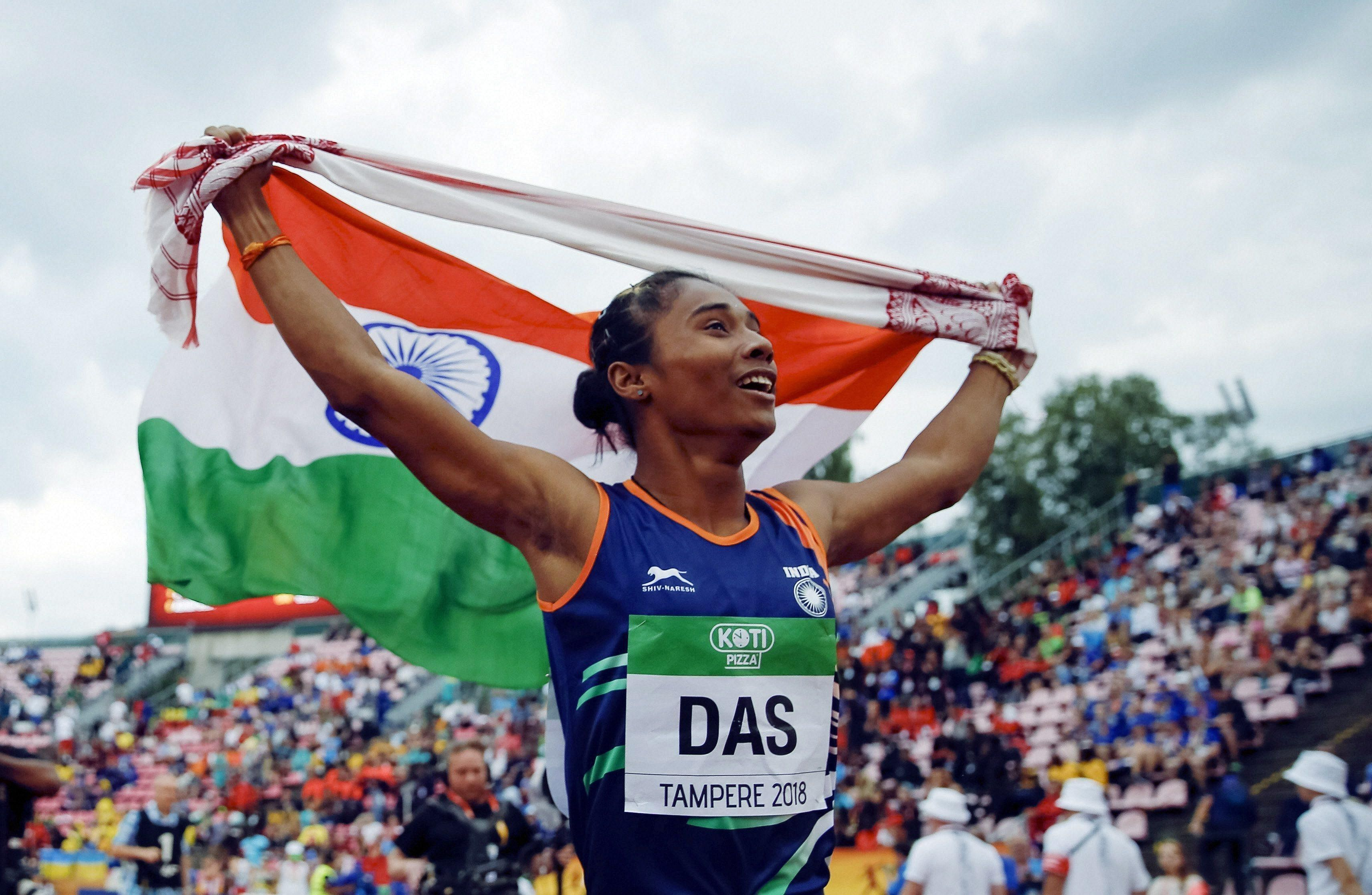 Hima Das, nicknamed the Dhing Express, holds the current Indian national record in 400 metres with a timing of 50.70s at the 2018 Asian Games. Das, youngest of five children a in farmer family, was initially pursing football and later changed to sprint running. She is the first Indian to win a gold medal in track event at IAAF world U20 Championships.