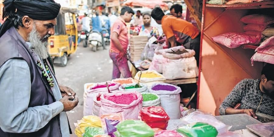 Vendors sell colours at Begum Bazar in the city on Friday in view of the ensuing Holi festival