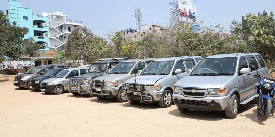 The four-wheeler vehicles are seen kept at Cyberabad Police which are recovered by theft offender in Hyderabad