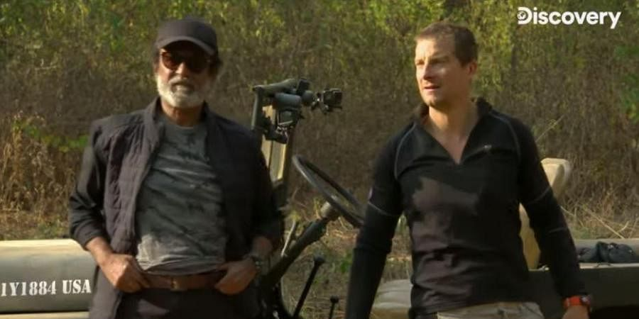Superstar Rajinikanth with Bear Grylls in an episode of 'Into the Wild'