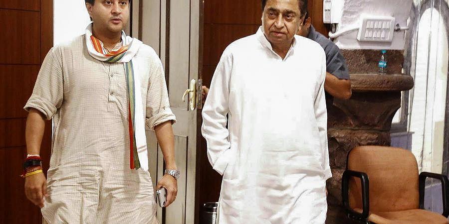 Madhya Pradesh Chief Minister Kamal Nath with Congress General Secretary Jyotiraditya Scindia.