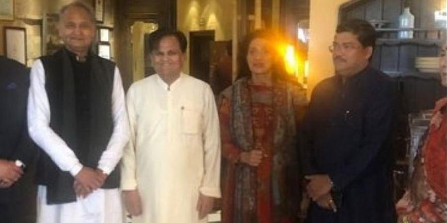 Rajasthan CM Ashok Gehlot (L) at the wedding reception of Mukul Wasnik (R)
