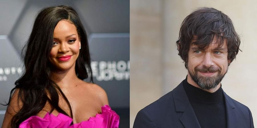 From (L to R): Singer Rihanna and Twitter CEO Jack Dorsey