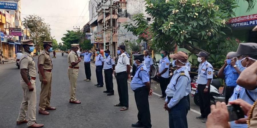 Private security guards roped in to assist police being briefed before deployment in Puducherry.