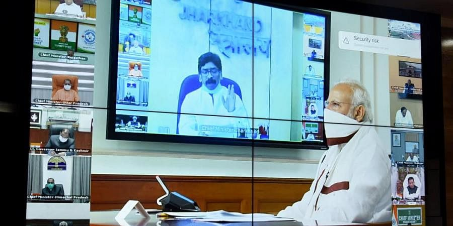 harkhand Chief Minister Hemant Soren in the video-conferencing of Prime Minister Narendra Modi with the Chief Ministers over COVID19, in Ranchi