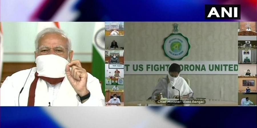 Prime Minister Narendra Modi holds a meeting via video-conferencing with the Chief Ministers. (Photo | ANI)