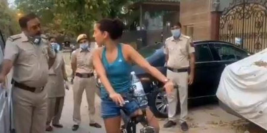 A woman from Uruguay indulged in an argument with Delhi Police on Saturday at Paschimi Marg in Vasant Vihar as she was stopped by personnel on duty for not following COVID-19 lockdown norms.
