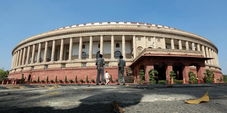 A deserted view of Parliament House during the ongoing Budget session in New Delhi on Monday.