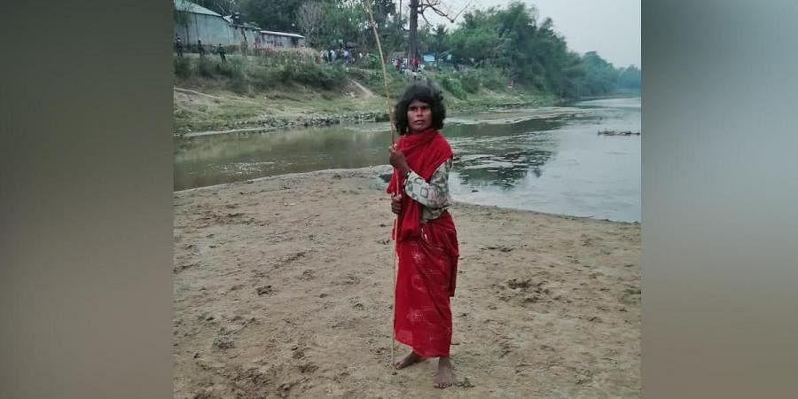 Photo of the woman stranded along India-Bangladesh border