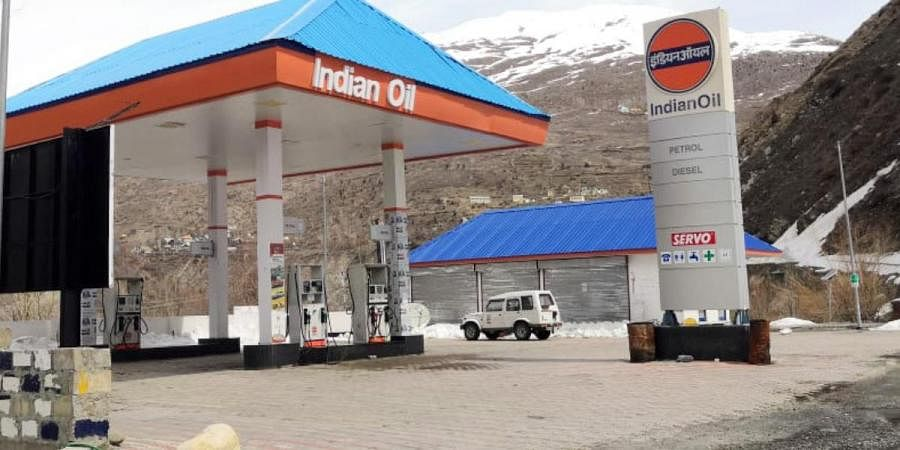 A deserted view of a fuel station during coronavirus lockdown, in Shimla