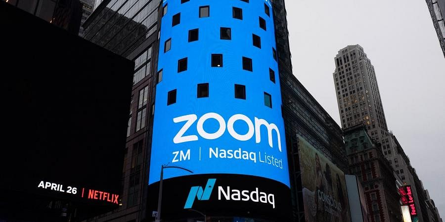 A billboard of Zoom app. (Photo| AP)