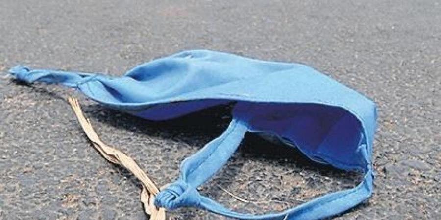 Mask lying on road