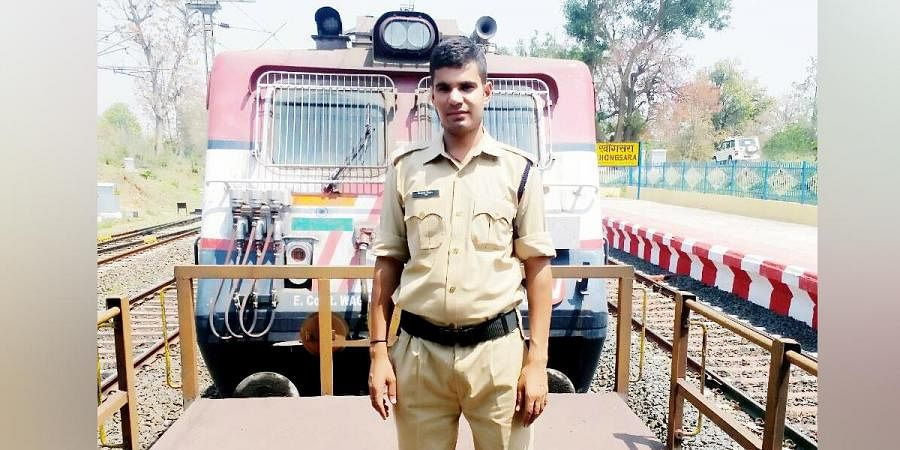 CAF jawan Santosh Yadav on a freight train on his way to his village in UP