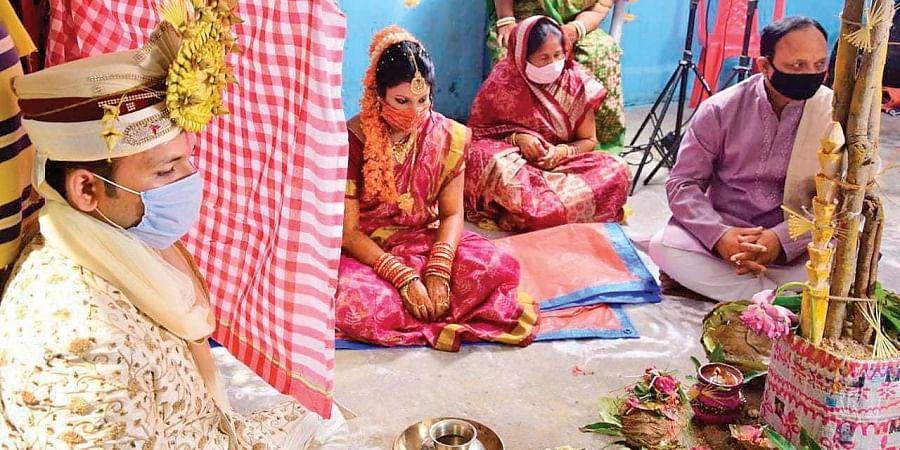 Amrit and Subhashree's  wedding in progress at Jhargaon village.